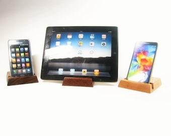 Solid wood ipad, iphone stand.  Oak, Black Walnut or Lace wood.