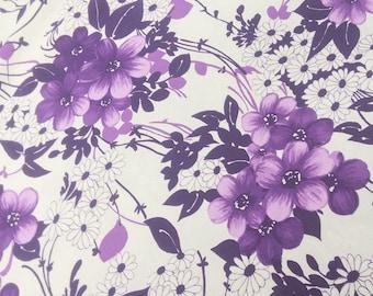 2.66 yards: Vintage Bark Cloth Purple White Floral Barkcloth By the Yard Yardage Remnant