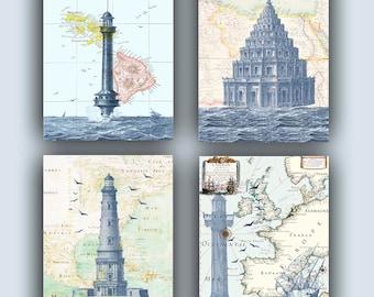 Nautical Art, Lighthouse Prints, Sailing Decoration, Coastal Decor Beach, Coastal Prints, Lighthouse Decor, Lighthouse Map Art Posters