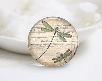 10mm 12mm 14mm 16mm 18mm 20mm 25mm 30mm Round Photo Glass Cabochons Domes-Dragonfly (P2320)