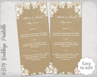 wedding menu template floral lace printable menu
