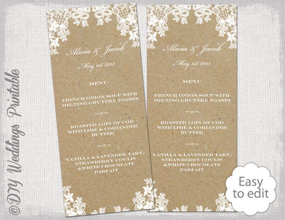 rustique mariage menu mod le dentelle rustique menu. Black Bedroom Furniture Sets. Home Design Ideas