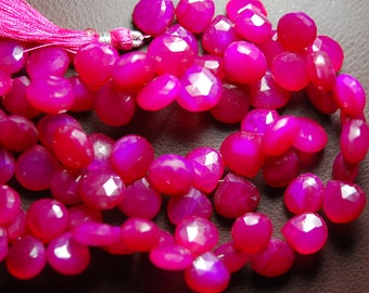 7 Inch Strand -Hot Pink Chalcedony Faceted Heart Briolettes Size 11mm Approx