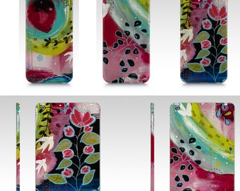 Nature device case for iPad mini, IPhone, Samsung with flowers by mixed media artist Marika Lemay