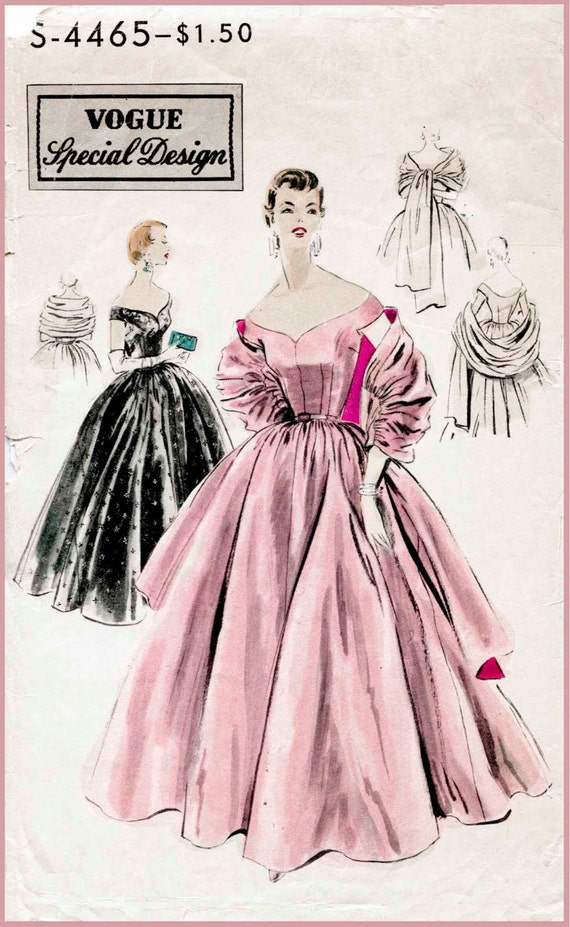 1950s 50s cocktail dress ball gown evening Vintage Sewing