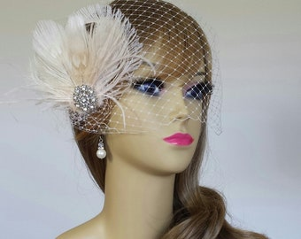 """BRIDAL HEADPIECE, Stunning Ivory and Champagne Bridal Headpiece Available With Birdcage Veil, Ivory Bridal Headpiece (3 Pieces) - """"ELISE"""""""