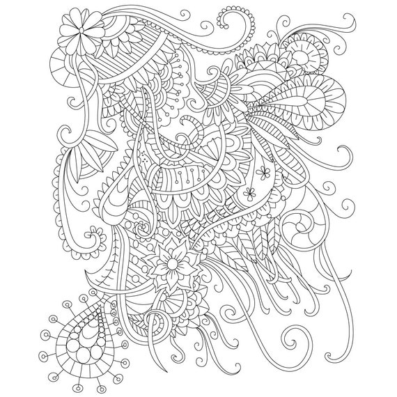Items similar to adult coloring page of abstract doodle for Stress relief coloring pages online