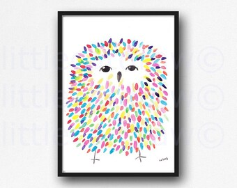Fluffy Owl Watercolor Painting Print Colorful Owl Wall Art Owl Print Owl Gift Bedroom Wall Art Owl Art Wall Decor Unframed