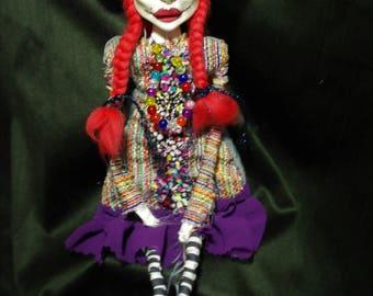 ooak art doll, red hair,