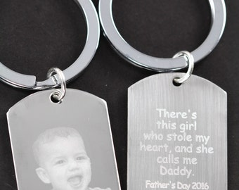 Gift for Dad, Father Daughter Key Ring, Engraved Picture, There is this girl who stole my heart, Gift Ideas for Dad from Daughter