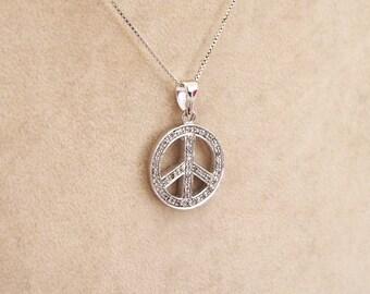 Necklace silver chain and swarovski peace pendant