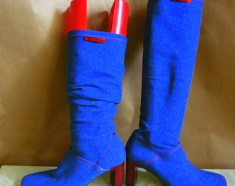 Vintage Denim STRETCH Boots / size 5 .5 Eu 35 .5 Uk 3 / Blue Jean Spandex Chunky Heels Slouch Knee/ESCADA Italy 1990s