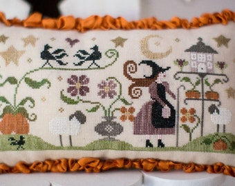 Histoire de Bergere Automne - Autumn Shepherdess - Cross Stitch Pattern by COLLECTION TRALALA - Fall - Halloween - Witch - Pumpkins - Crows