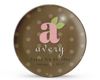 Personalized Plate, Pink Monogram Plate, Personalized Brown Polka Dot Melamine Child's Cake Plate