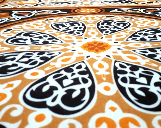 Fabric Egyptian brown beige pattern traditional ethnic mandala arabesque for furniture and clothing Brown lace