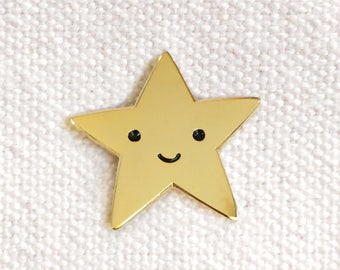 Gold Star Pin - Lapel Pin - Gold Enamel Pin - Kawaii Flair Pin - EP2082
