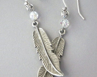 Long silver feather earrings, dramatic antiqued metal feather earrings with Swarovski crystal, silver tribal, bohemian, boho chic