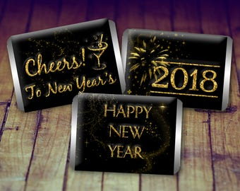Mini Candy Wrappers, New Years Candy Wrappers, New Years Favours, New Years Eve Party, New Years Chocolates, 2018 Candy Wrappers