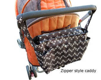 wheelchair organiser bag-pram caddy-shoulder bag-double caddy- stroller organiser - pram bag - pram organiser - Grey with White Crosses