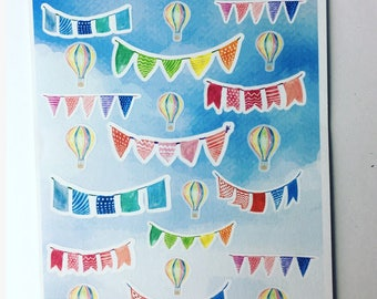 Life's a Beach - Planner/journal stickers (bunting & balloons)