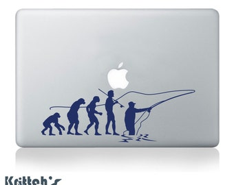 Evolution of Fly Fishing Vinyl Decal fits car window, laptop and so much more, 26 colors and custom sizes available K549
