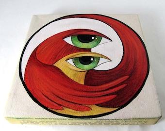 Original Painting Big Eyed Birds Duo Mixed Media