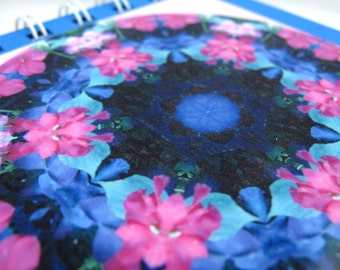 Notepad with photographic mandala - pink and purple flowers
