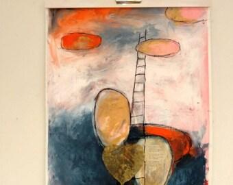 Original painting, abstract painting, mixed media painting, small painting, modern painting, muurdecoratie