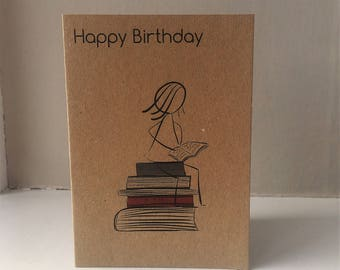Coffee cup birthday card coffee lover card mum birthday bookworm birthday card happy birthday card book lover card birthday bookworm librarian bookmarktalkfo Images