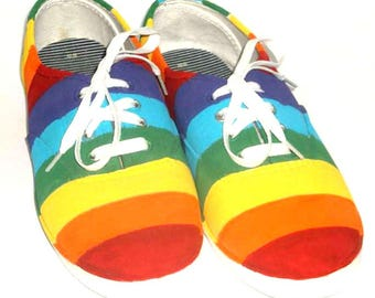 LGBT Pride Shoes, Custom Hand Painted Rainbow Shoes, Custom Canvas Shoes, Engagement Gift, Pride Day Parade Fashion, Personalized Shoes