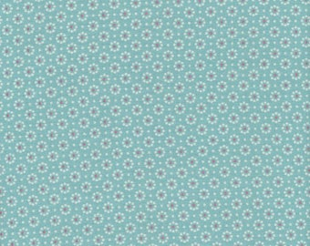Turquoise blue waxed canvas, little white flowers, cotton coated sold a Cup, in multiples of 10cm, for making tablecloth