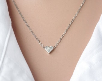 Heart Necklace  Small Hearts Silver Necklace Tiny heartNecklace Minimalist Gold Small Heart Necklace Heart Jewelry Simple Necklace mom gift