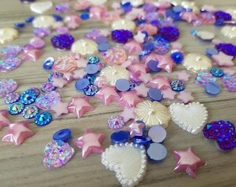 Set of mixed random rhinestones and flatback resins embellishments for scrapbooking, cardmaking PURPLE