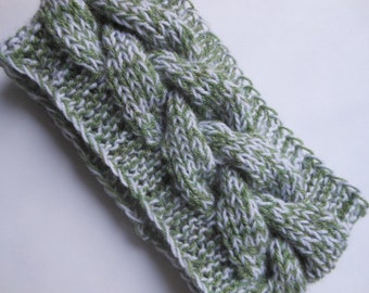 Knit Cable Headband  Ear Warmer Head Warmer Green and White Choose Color