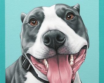 Custom Hand Painted Pet Portrait, 10x12 Pitbull Painting, Pop Art Dog Portrait, Valentine's Gift for Pittie Lover, Portrait of Your Pittie