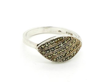 Marcasite Band Ring - Sterling Silver Ring Size 8.75 - Art Deco Design Marcasite Jewelry - Big Size Ring - Gift for Her