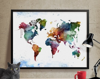 Watercolor world map art print splash world map wall art watercolor world map world map art print world map wall art large wall art world map watercolour home decor watercolor map 310 nz1840 gumiabroncs Gallery