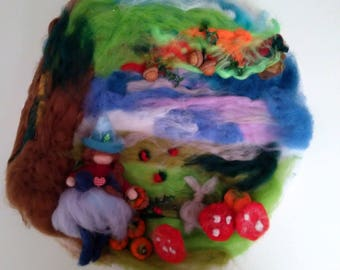 Carded wool garland, with fairy, inspired by Waldorf pedagogy