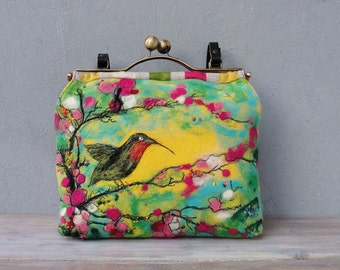 Floral Hummingbird Bag, Needle Felted, Leather, Felt, Kiss-lock, Colorful Bag