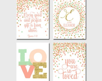 Nursery Wall Decor You Are So Loved Print Every Good And Perfect Gift Is From Above Gold Coral Mint Baby Girl Nursery Prints Set of 4 Coral