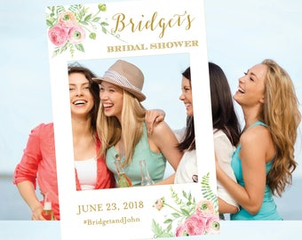 Bridal Shower Photo Prop, Photo Frame Prop Wedding Photo Prop Baby Shower Photo Prop Peach Pink Flowers Personalize Digital Floral The Lucia