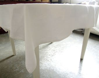 "White Linen Tablecloth, Linen Tablecloth, White Tablecloth, Table Linens, 52"" x 55"""