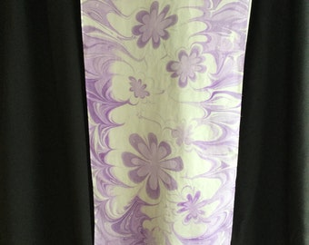 "Light Purple Lavender and White Silk Washable Scarf - 14 x 72"" Hand-marbled"