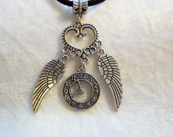 Time Flies Necklace, Charms, Wings, Clock, Black Suede Cord, Heart, Whimsical Necklace