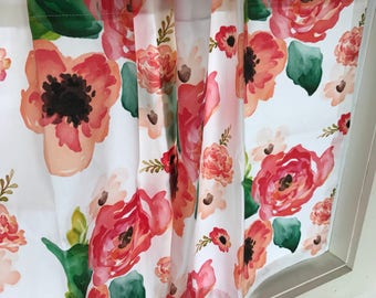 Bold Floral Spoonflower Valances and Cafe Curtains, Floral Home Decor, Window Treatments , Curtains, Kitchen Nursery