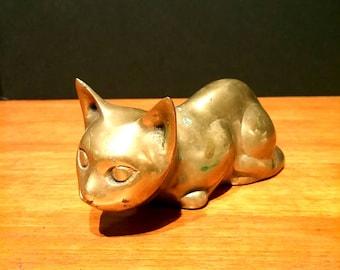 Vintage Brass Cat Sculpture