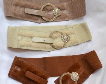 Wide cinch belt ,Wide elastic stretch corset belt, cinch belt with faux fur/leather front ,faux fur belt  26 inch to 30 1/2 inch