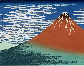 "Japanese Ukiyo-e Woodblock print, Katsushika Hokusai, ""Fine Wind, Clear Morning, from the series Thirty-six Views of Mount Fuji"""