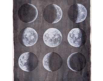 Lunar Moon Phases Watercolor - Trendy - Gifts - Print - Boho