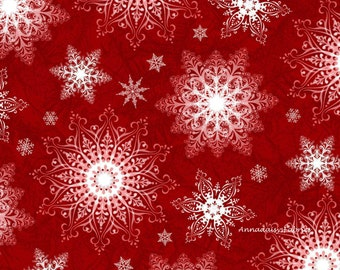 Red Snowflake Fabric, Henry Glass Holiday Traditions 6540 88 Jan Shade Beach, Doily Snowflake Fabric, Christmas Quilt Fabric, 100% Cotton
